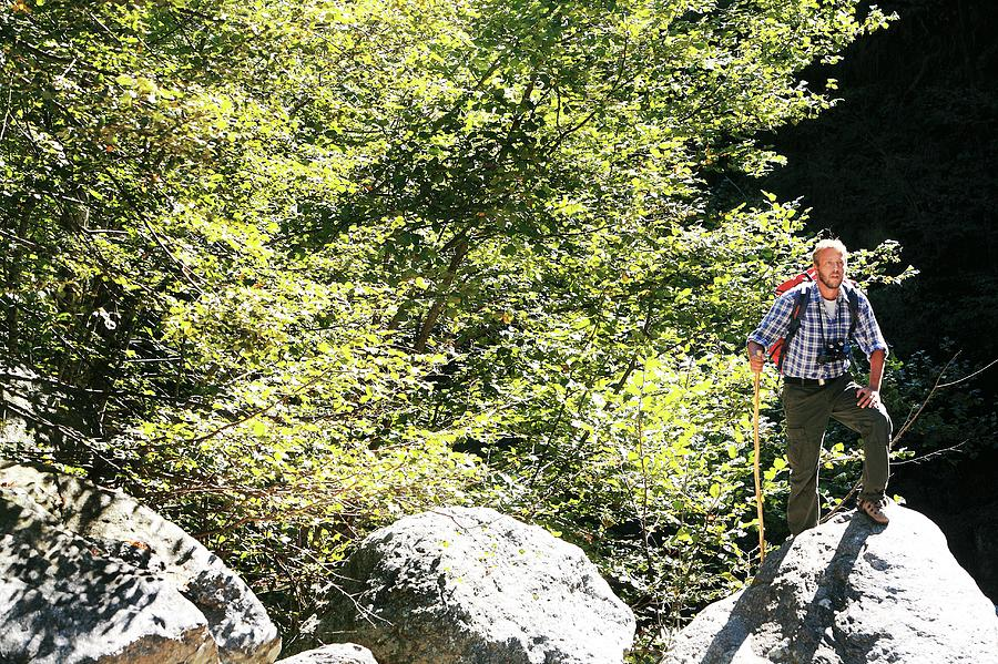 Equipment Photograph - Man Hiking In The Sun by Mauro Fermariello/science Photo Library