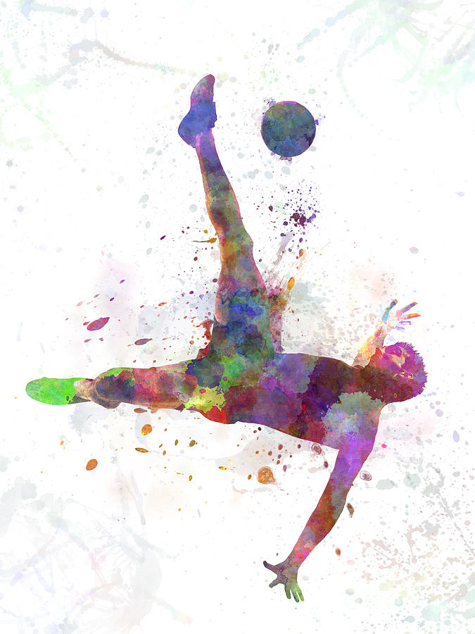 Man Soccer Football Player Flying Kicking Painting