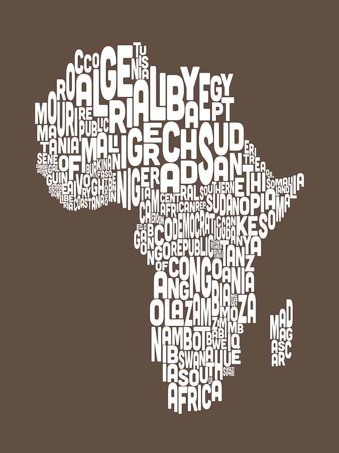 Map Of Africa Map Text Art Digital Art by Michael Tompsett