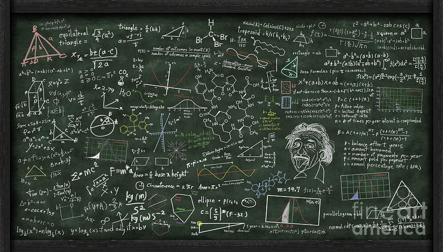 maths formula on chalkboard digital art by setsiri silapasuwanchai