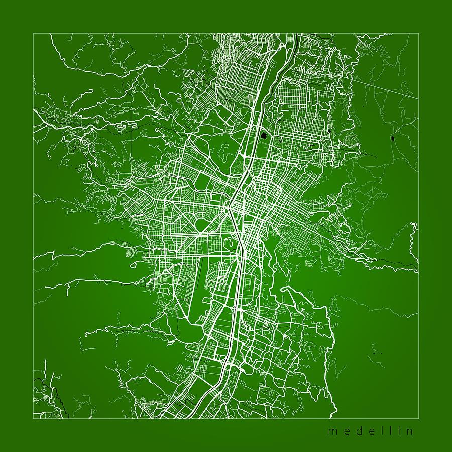 Medellin Street Map Medellin Colombia Road Map Art On Color