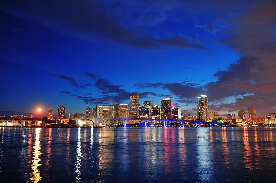 Miami Night Scene Photograph