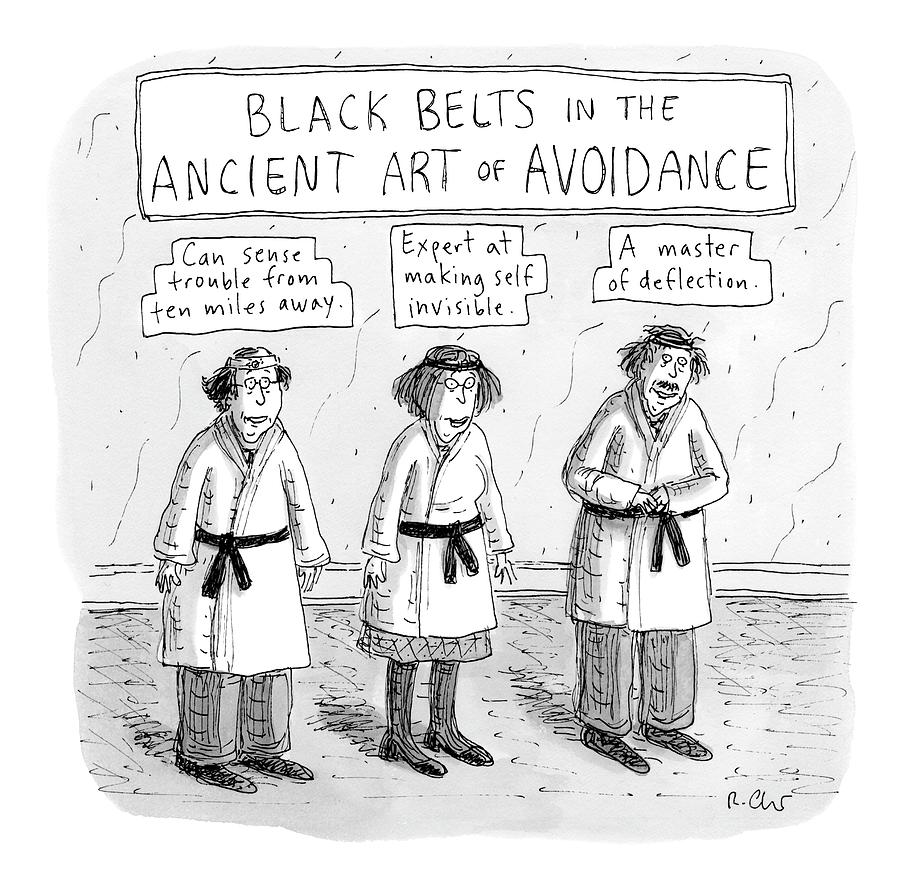 3 Middle-aged People In Karate Uniforms -- Black Drawing by Roz Chast