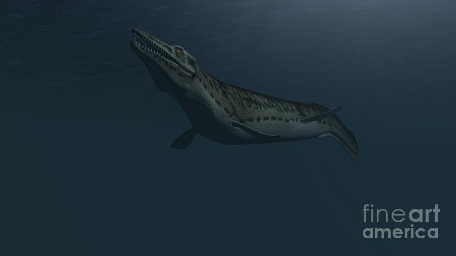 Mosasaur Swimming In Prehistoric Waters Digital Art