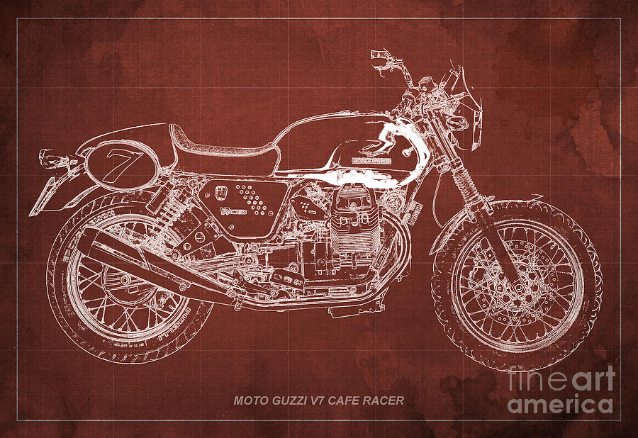 Moto Guzzi Drawing - Moto Guzzi V7 Cafe Racer by Drawspots Illustrations