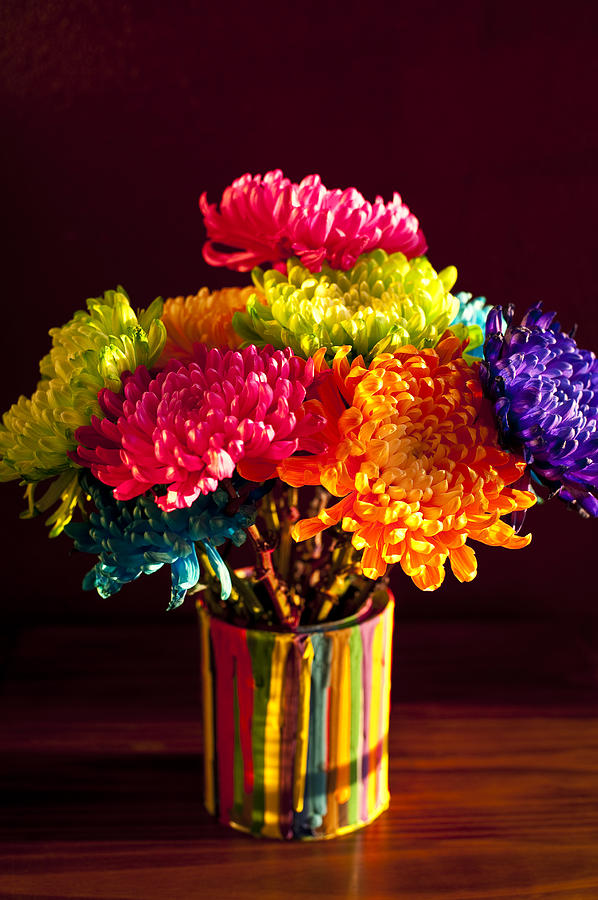 Multicolored Chrysanthemums In Paint Can Photograph