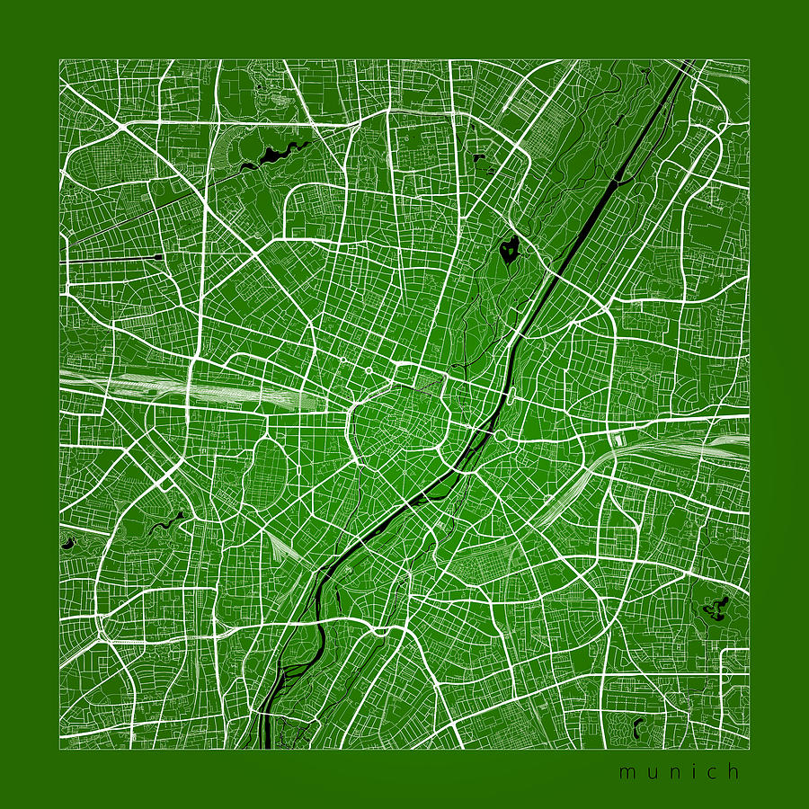 Munich Street Map Munich Germany Road Map Art On Color Digital Art