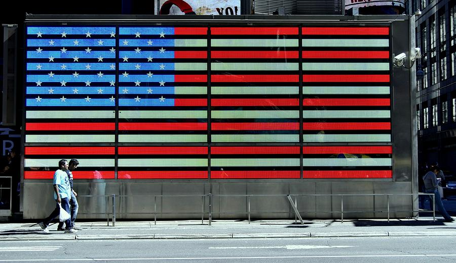 Neon American Flag Photograph - Neon American Flag by Allen Beatty