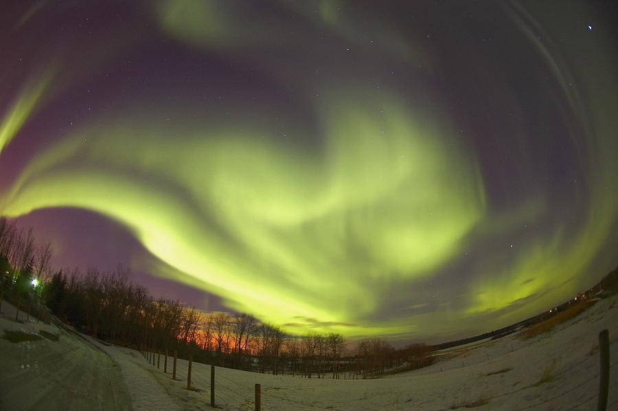 Road Photograph - Northern Lights, Edmonton, Alberta by Carson Ganci