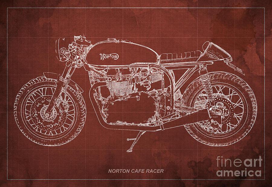 Norton Cafe Racer Drawing - Norton Cafe Racer Blueprint by Drawspots Illustrations