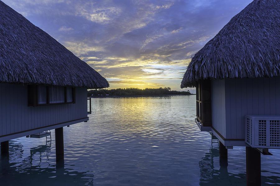 Overwater Bungalows In Bora Bora At Sunset