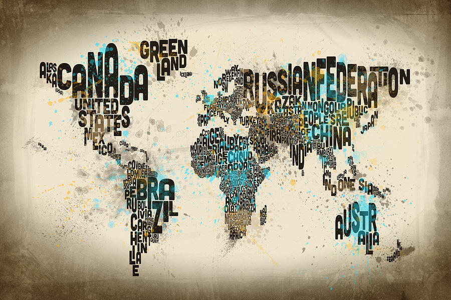 Michael tompsett website paint splashes text map of the world by michael tompsett gumiabroncs Image collections