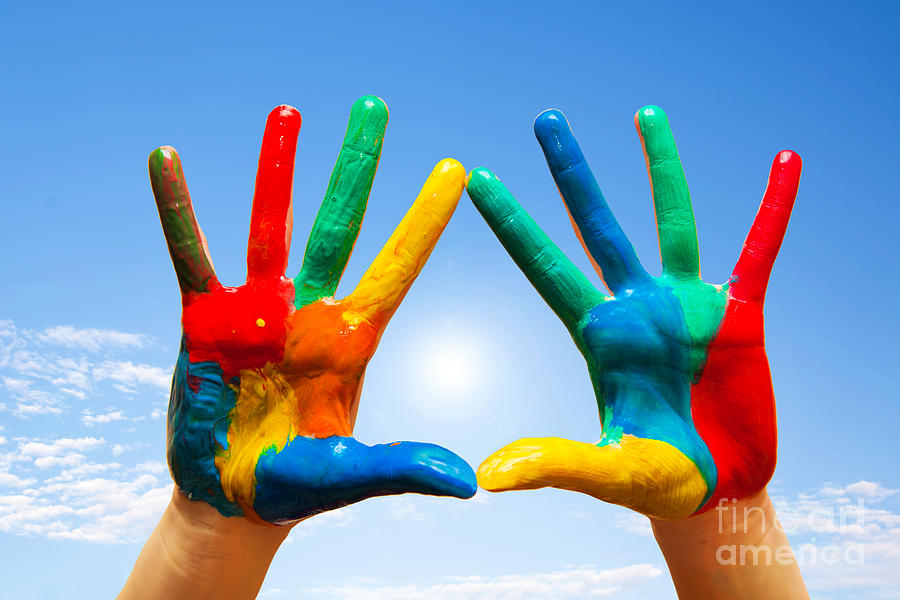 painted hands photograph by michal bednarek