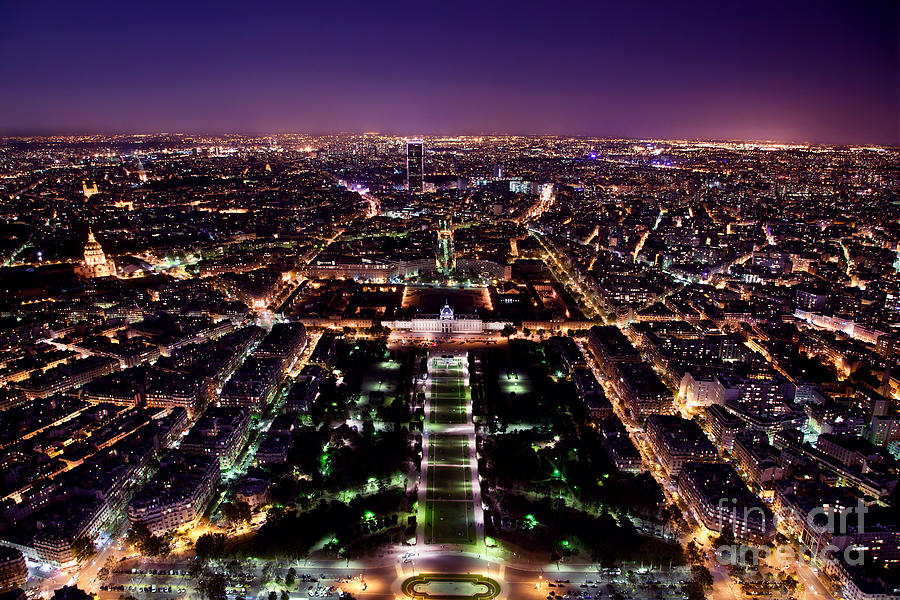 City Photograph - Paris Panorama France At Night by Michal Bednarek