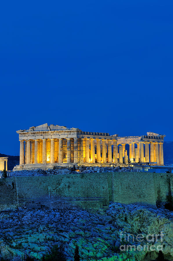 Parthenon In Acropolis Of Athens During Dusk Time Photograph by George Atsametakis