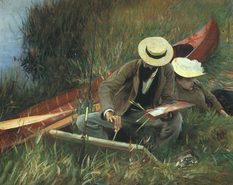 Paul Helleu Painting - Paul Helleu Sketching With His Wife by John Singer Sargent