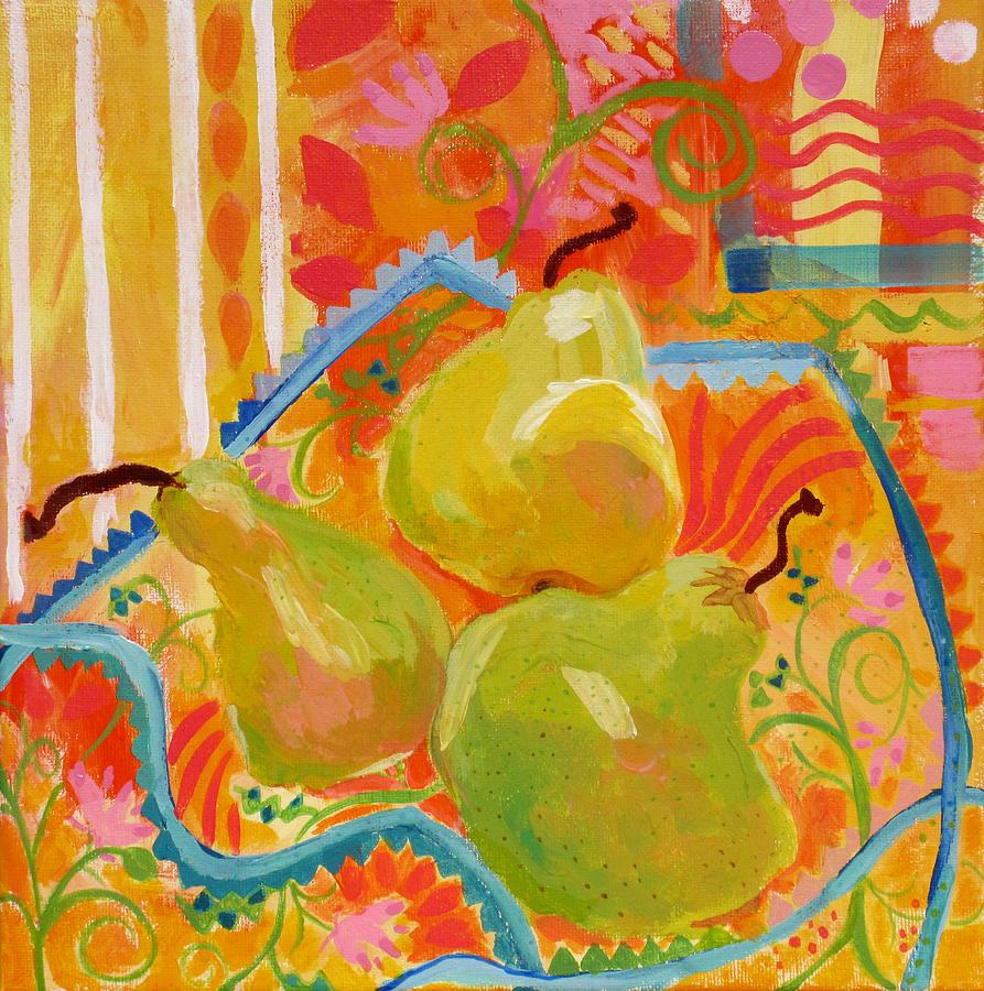 Pears Painting - 3 Pears by Deborah Burow