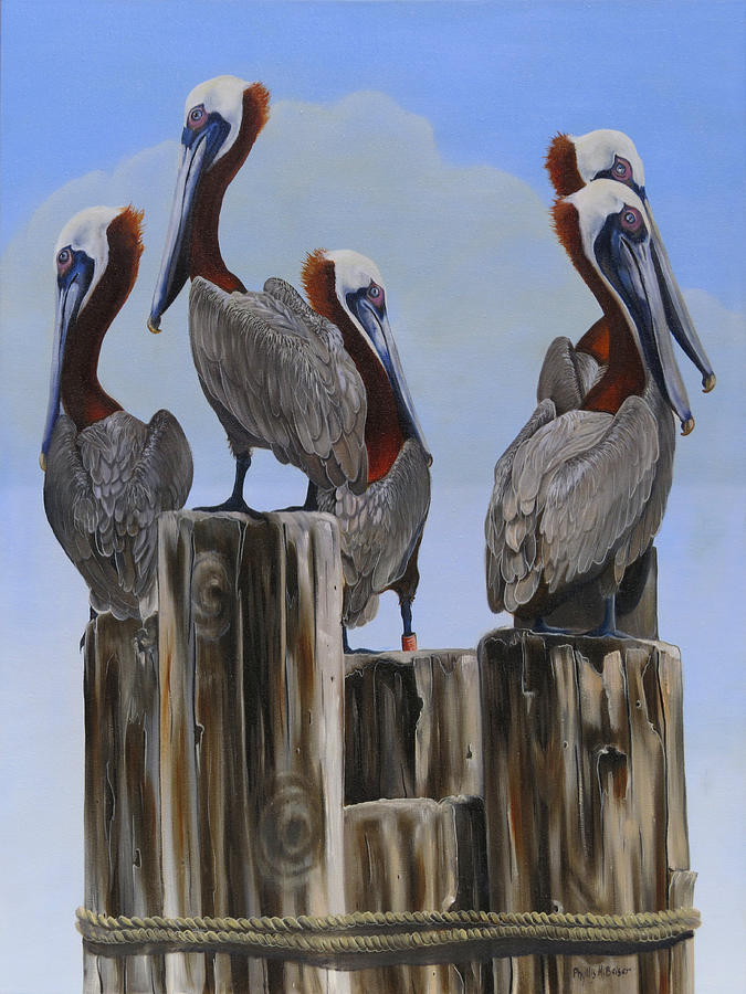 Pelicans Painting - Pelicans Five by Phyllis Beiser