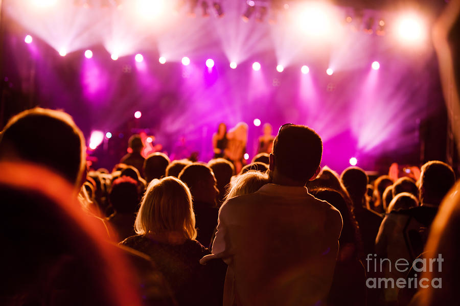 Party Photograph - People On Music Concert by Michal Bednarek