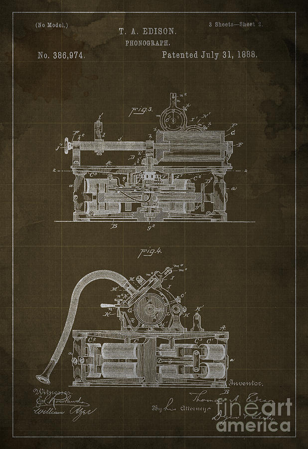 Edison Drawing - Phonograph Edison Patent Blueprint 2 3 by Drawspots Illustrations