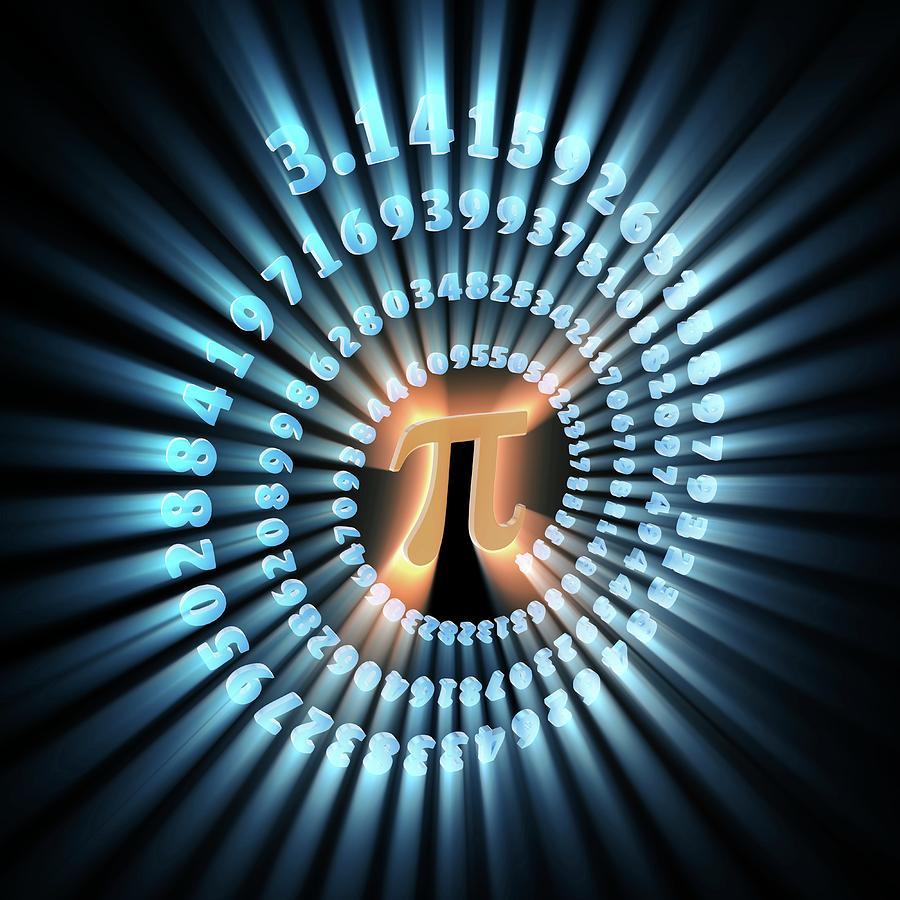 Circle Photograph - Pi Symbol And Number by Alfred Pasieka