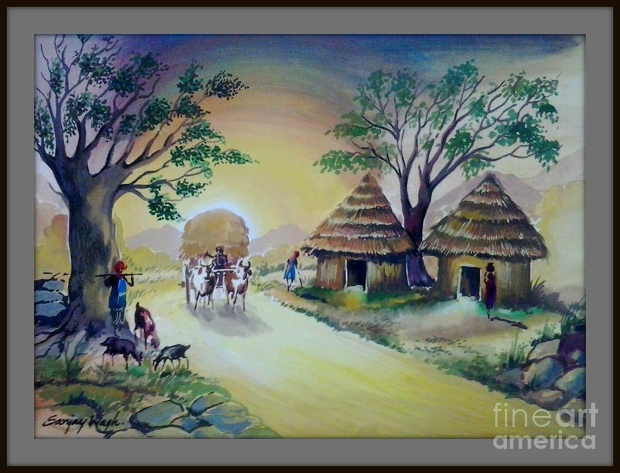 village life poster colour painting painting by sanjay wagh
