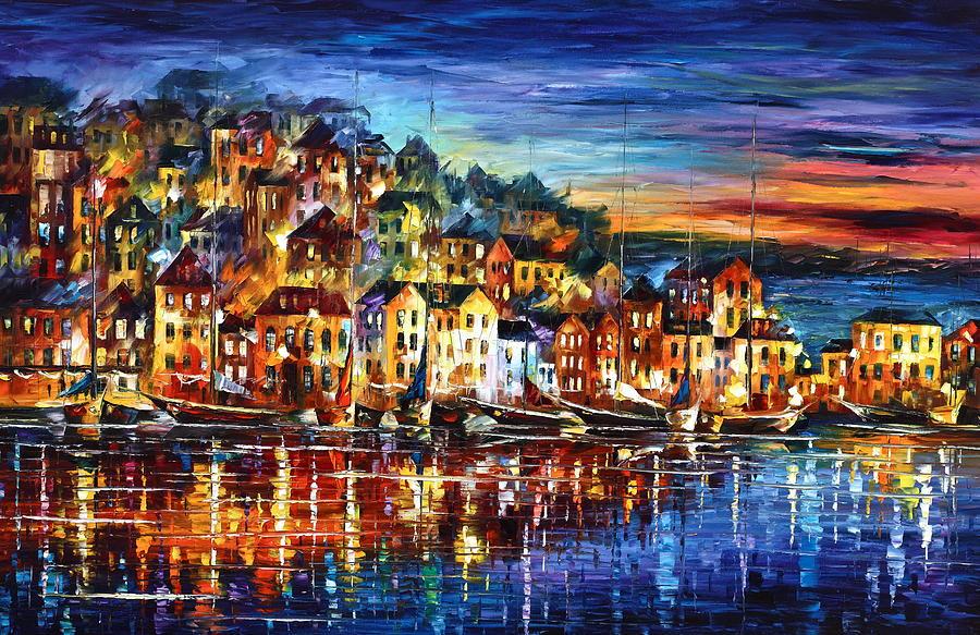 Harbor Painting - Quiet Town by Leonid Afremov