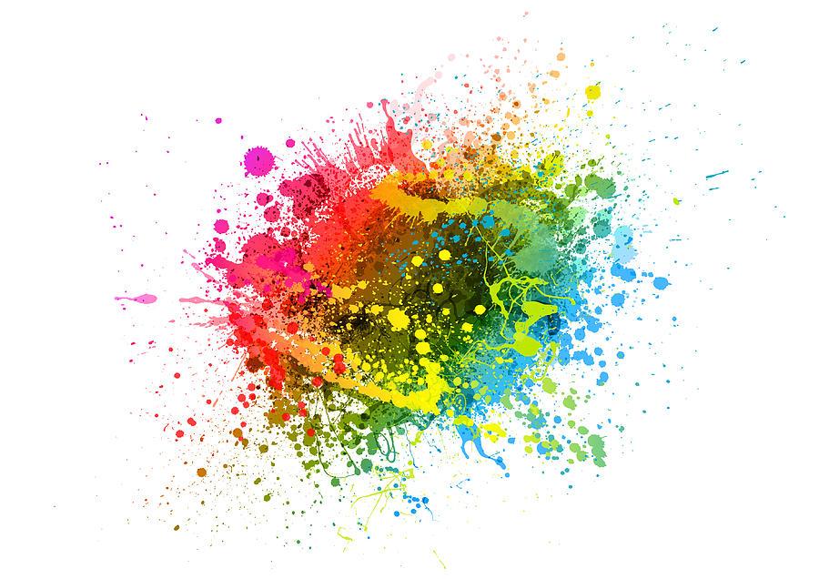 Rainbow paint splash Drawing by Enjoynz