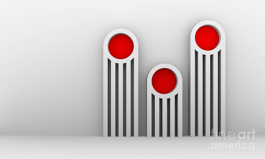 Abstract Digital Art - 3 Red Illuminators by Igor Kislev