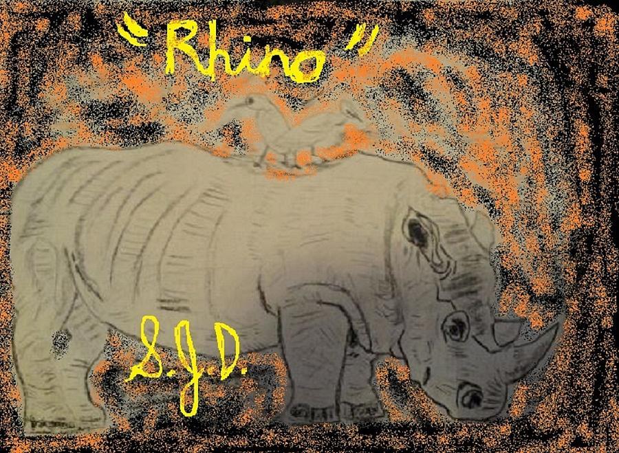 Rhino Drawing by Joe Dillon