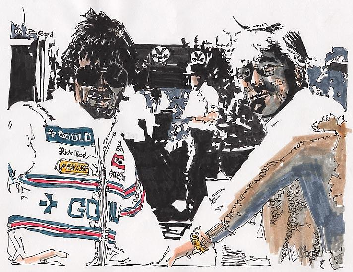 Automobile Racing Drawing - Rick Mears And Roger Penske At Indianapolis by Paul Guyer