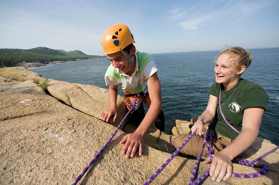 Acadia National Park Photograph - Rock Climbing On Oceanside Cliffs by Jose Azel
