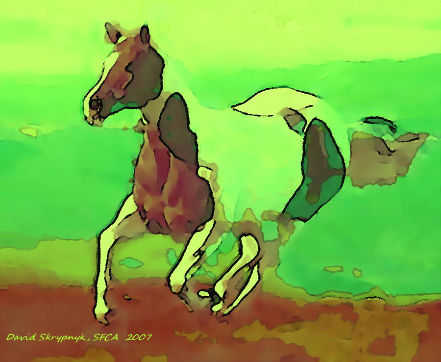 Horse Digital Art - Running Horse by David Skrypnyk