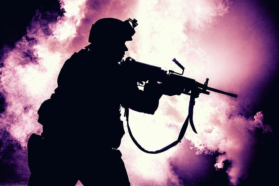 Silhouette Photograph - Silhouette Of Modern Infantry Soldier by Oleg Zabielin