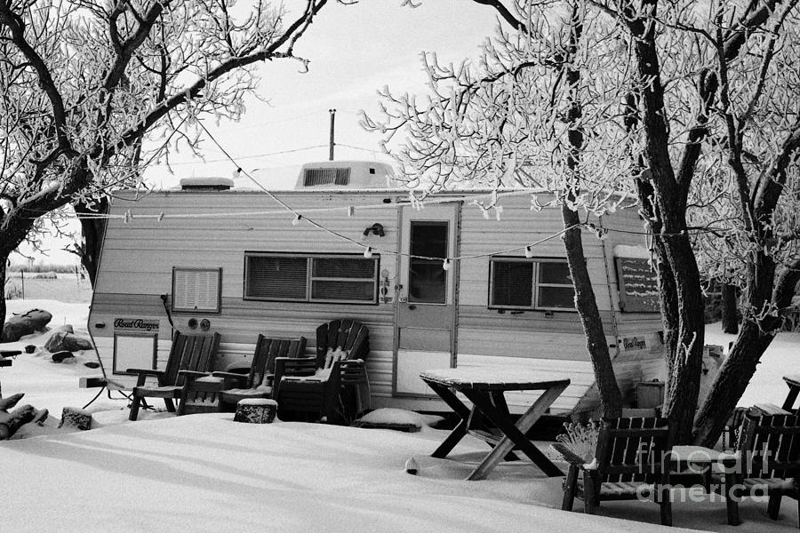 Small Photograph - small trailer mobile home covered in snow in rural village of Forget Saskatchewan Canada by Joe Fox