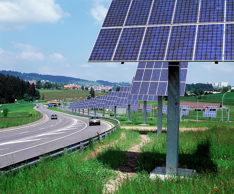 Photovoltaic Panels Photograph - Solar Panels by Martin Bond/science Photo Library