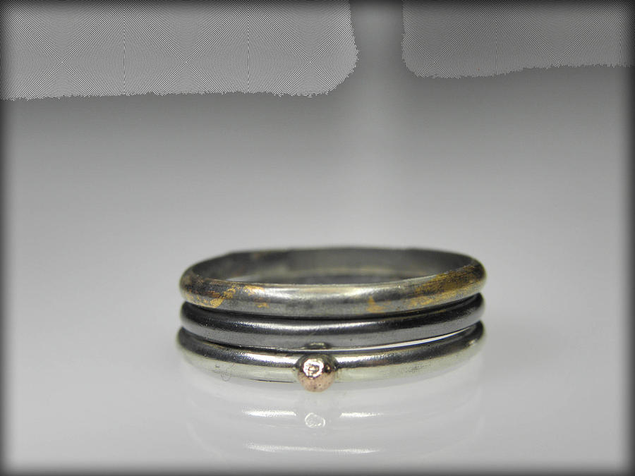 Stacking Rings Jewelry - 3 Stacking Silver Rings With 14k And 24k Gold by Vesna Kolobaric