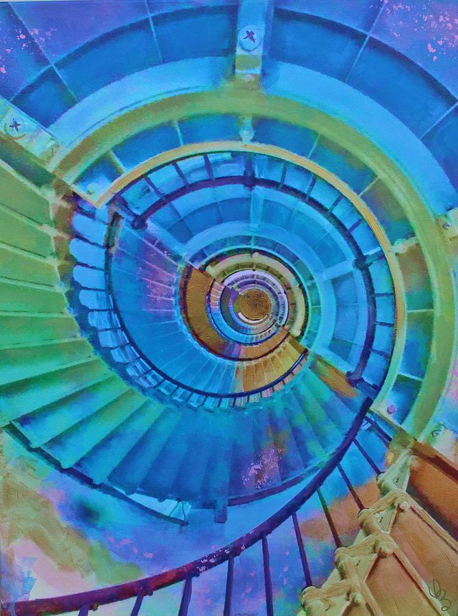 Stairs Painting - Stairway To Lighthouse Heaven by Deborah Boyd