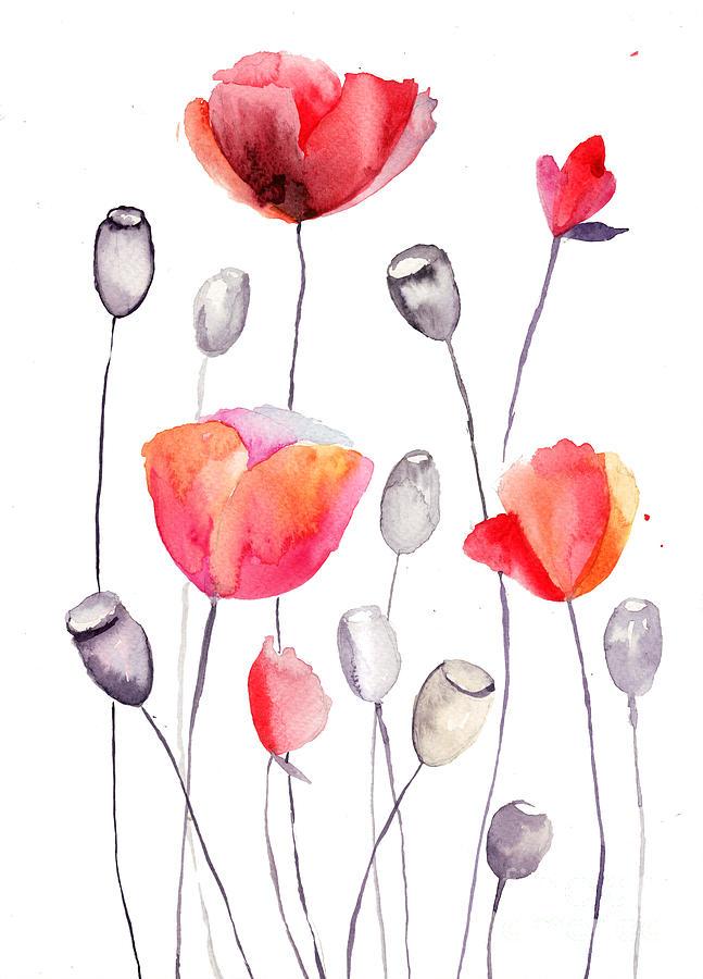Stylized Poppy Flowers Illustration Painting By Regina