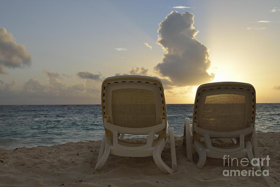 Vacations Photograph - Sun Lounger On Tropical Beach by Sami Sarkis
