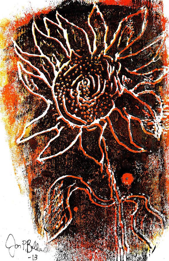 Woodcut Mixed Media - Sunflower  by Jon Baldwin  Art