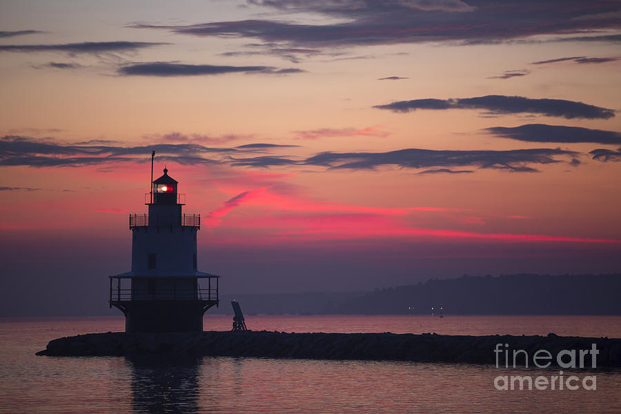 Lighthouse; Spring Point Lighthouse; Sunrise; Maine; Morning; Vibrant Color; Beacon; Beautiful; Ocean; Casco Bay; Clouds; Water Photograph - Sunrise At Spring Point Lighthouse by Diane Diederich