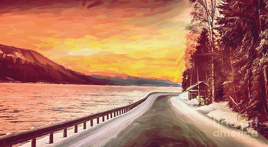 Water Digital Art - Sunset by Sylvia  Niklasson