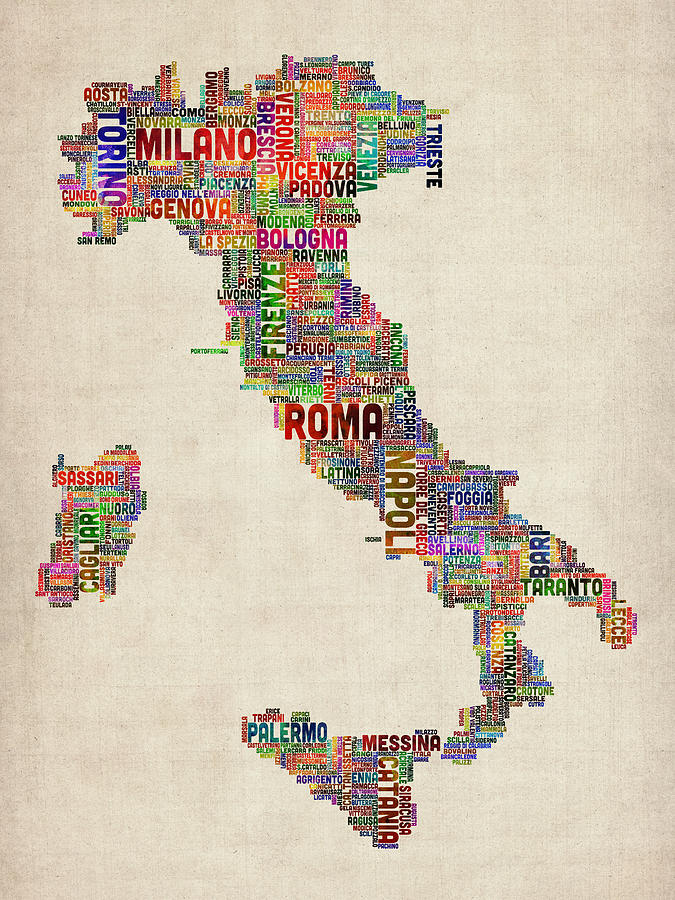 Italy Map Digital Art - Text Map Of Italy Map by Michael Tompsett