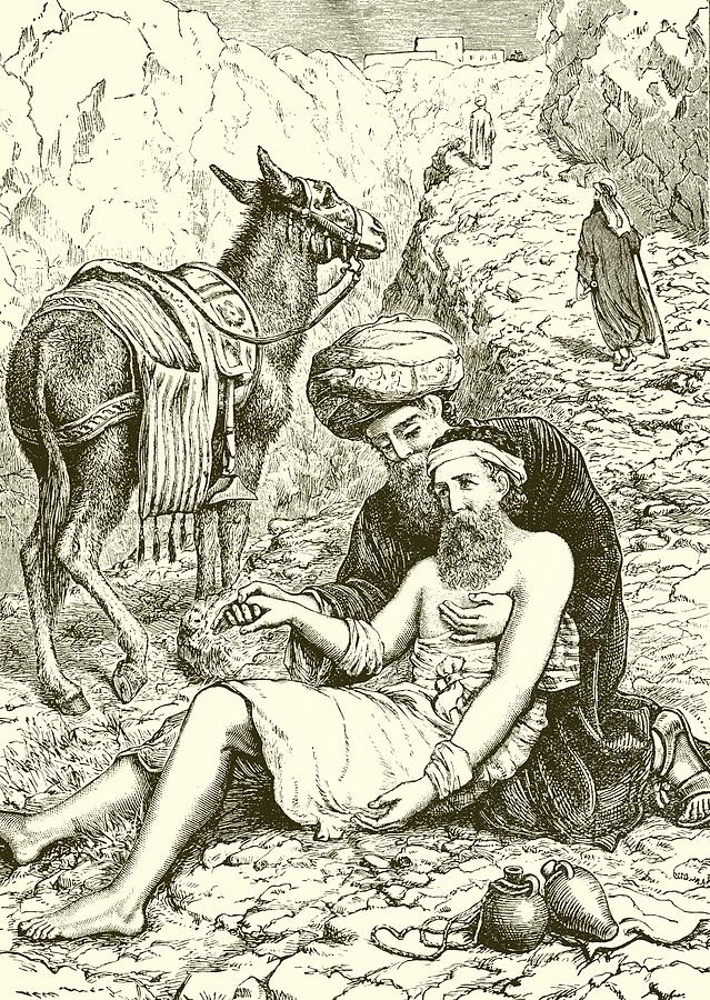 Bible Drawing - The Good Samaritan by English School