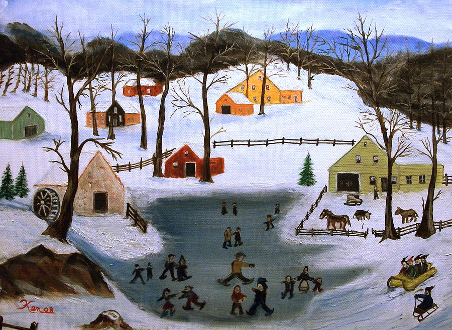 Skating Painting - The Ice Pond by Kenneth LePoidevin