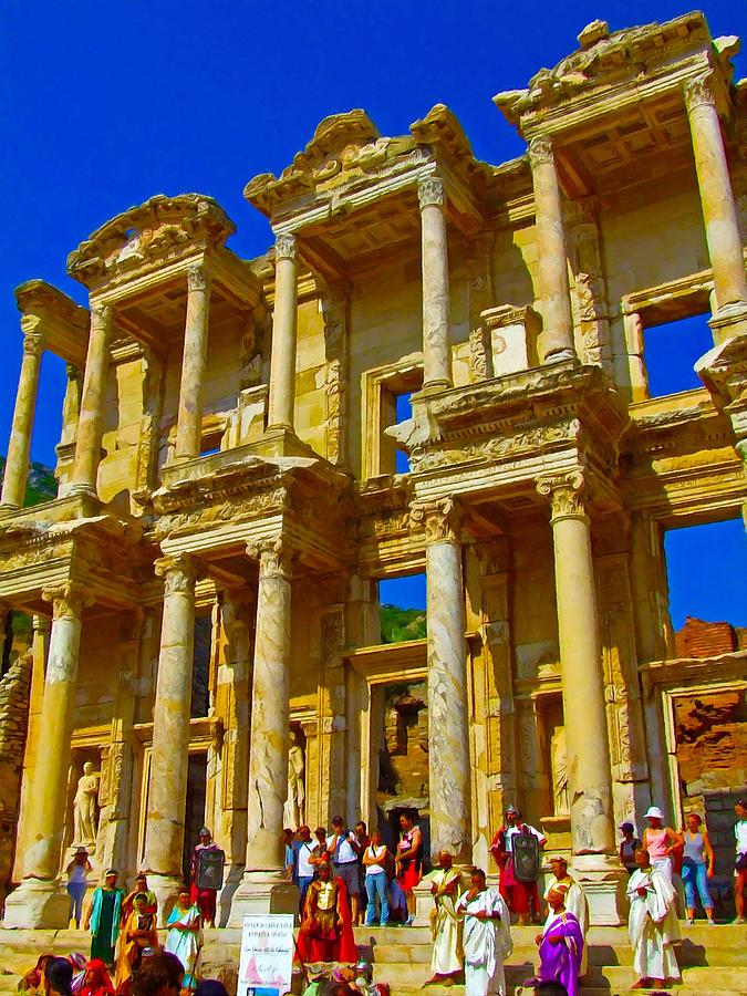 Painting Mixed Media - The Library Of Celsus In Ephesus by Ken Biggs