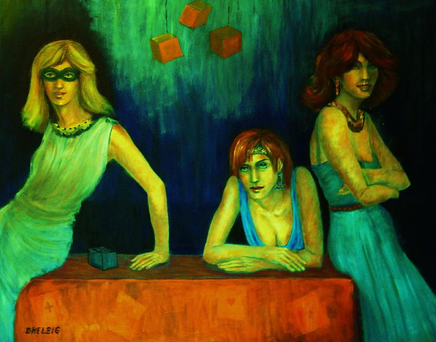 Three Ladies With A Secret Painting - The Secret by Dagmar Helbig