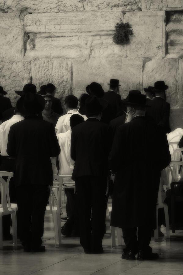 Praying At The Wailing Wall Photograph