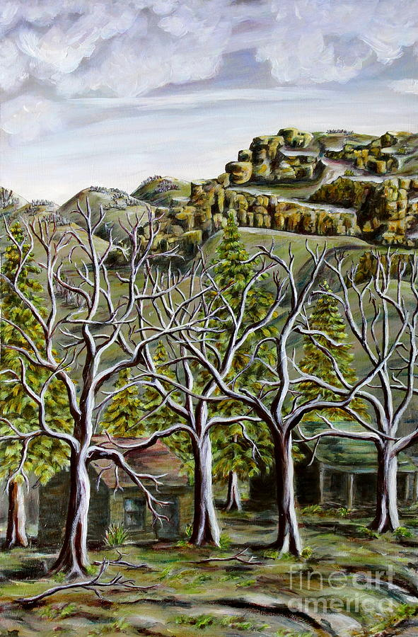 Tryptich Painting - Then And Now A New Beginning by Linda  Steine